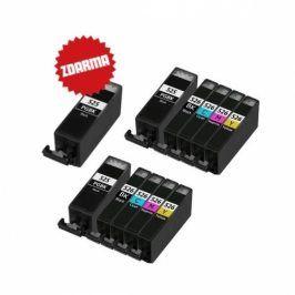 Náplně do tiskárny 2 x Canon PGI-525 PGBk + CLI-526 Bk, CLI-526 C, CLI-526 M, CLI-526 Y + PGI-525 Bk (černá velká) zdarma - Multipack - kompatibilní kazety s čipem