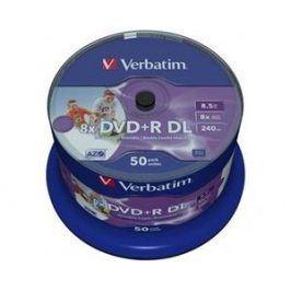 Verbatim DVD+R 8x, Dual Layer Printable 50ks cakebox