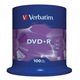 VERBATIM DVD+R (100-Pack) Spindl /MattSlvr /16x /4.7GB