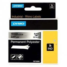 Dymo originální páska do tiskárny štítků, Dymo, 18487, černý tisk/metalický podklad, 5.5m, 19mm, RHINO permanentní polyesterová D1