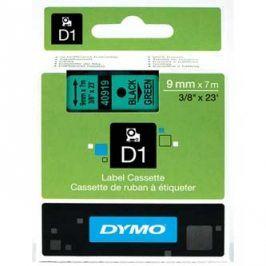 Dymo originální páska do tiskárny štítků, Dymo, 40919, S0720740, černý tisk/zelený podklad, 7m, 9mm, D1