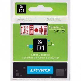 Dymo originální páska do tiskárny štítků, Dymo, 45805, S0720850, červený tisk/bílý podklad, 7m, 19mm, D1