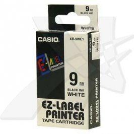 Casio originální páska do tiskárny štítků, Casio, XR-9WE1, černý tisk/bílý podklad, nelaminovaná, 8m, 9mm