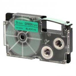 Casio originální páska do tiskárny štítků, Casio, XR-9GN1, černý tisk/zelený podklad, nelaminovaná, 8m, 9mm