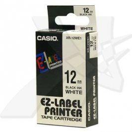 Casio originální páska do tiskárny štítků, Casio, XR-12WE1, černý tisk/bílý podklad, nelaminovaná, 8m, 12mm