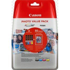 Canon CLI-551XL C/M/Y/BK + fotopapír Canon PP-201