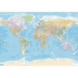 1Wall Vliesová fototapeta Politická mapa modrá 366x253 cm