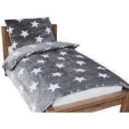 Homeville povlečení mikroplyš bílé hvězdičky/šedá 140x200/70x90 cm