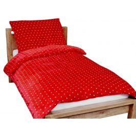 Homeville povlečení mikroplyš bílé puntíky/červená 140x200/70x90 cm