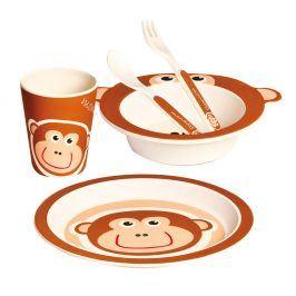 Dětské nádobí z bambusu Opička, set 5 dílů