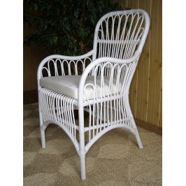 Ratanová židle DONNA - bílý ratan
