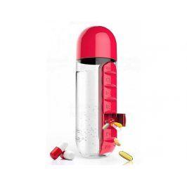 Týdenní dávkovací láhev ASOBU Pill Organizer červená 600ml