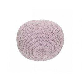 Pletený taburet, pudrová růžová bavlna, GOBI TYP 2