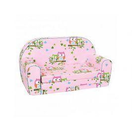 Mini pohovka růžová, sovičky
