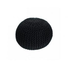 Pletený taburet, černá bavlna, GOBI TYP 1