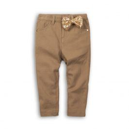 Kalhoty dívčí s elastenem s mašlí hnědá 122/128