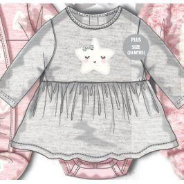 Šaty kojenecké se vsazeným body šedá 68/74