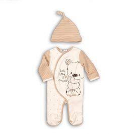 Overal kojenecký bavlněný s čepičkou bílá 68