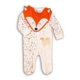 Overal kojenecký bavlněný s bryndákem bílá 62