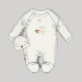 Overal kojenecký sametový s čepičkou bílá 68