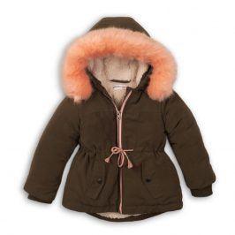 Kabát dívčí zimní Parka podšitá chlupem khaki 116/122