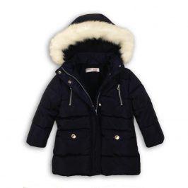 Kabát dívčí zimní Parka podšitá chlupem tmavě modrá 104/110