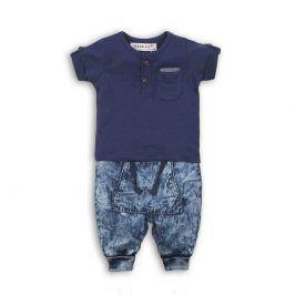 Minoti safari 8 Chlapecký set, džíny a tričko tmavě modrá 0-3m