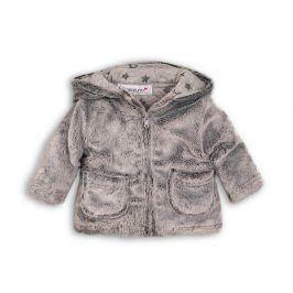 Minoti GREY 5 Kabátek kojenecký chlupatý s bavlněnou podšívkou šedá 12-18m