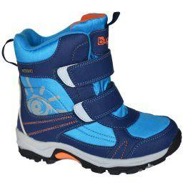 boty zimní 2 pásky, nepromokavá membrána modrá 24