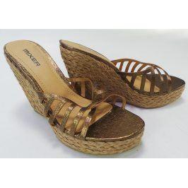 Dámské pantofle na klínku Mixer, bronzové