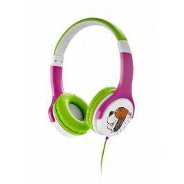 Dětská sluchátka Gogen Maxislechy, růžovozelené