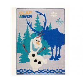 VOPI Dětský koberec Ledové Království Olaf a Sven modrý 95x133 cm