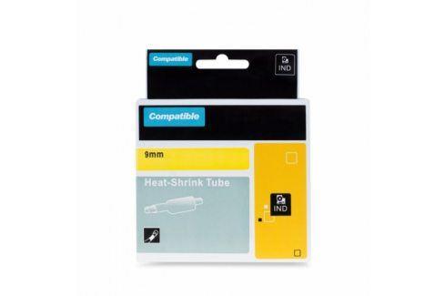 Kompatibilní páska s DYMO, 18054, 9mm, 1,5m, černý tisk / žlutý podklad, RHINO, bužírka  Kompatibilní pásky do tiskáren DYMO