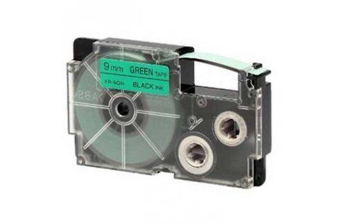 Casio originální páska do tiskárny štítků, Casio, XR-9GN1, černý tisk/zelený podklad, nelaminovaná, 8m, 9mm Originální pásky do tiskáren Casio