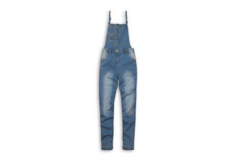 Kalhoty dívčí džínové s laclem modrá 152/158 Dětské kalhoty