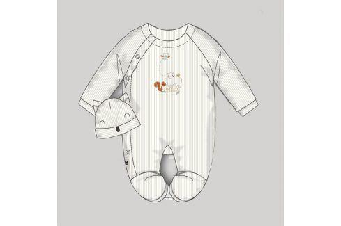 Overal kojenecký sametový s čepičkou bílá 68 Kojenecké overaly