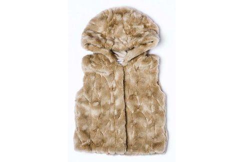 Vesta dívčí chlupatá s kapucí holka 98/104 Dětské bundy a kabáty