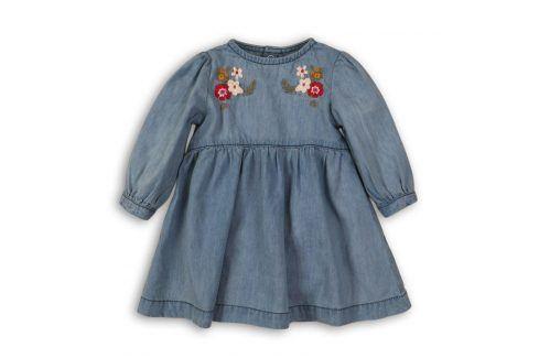 Šaty džínové s výšivkou modrá 56/62 Kojenecké šatičky a sukně