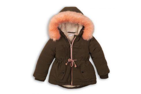Kabát dívčí zimní Parka podšitá chlupem khaki 116/122 Dětské bundy a kabáty