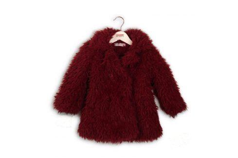 Kabát dívčí chlupatý vínová 80/86 Kojenecké kabátky, bundy a vesty