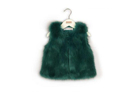 Vesta dívčí chlupatá zelená 68/80 Kojenecké kabátky, bundy a vesty