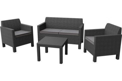 Allibert ORLANDO + SMALL TABLE - grafit+šedé podušky Zahradní sestavy